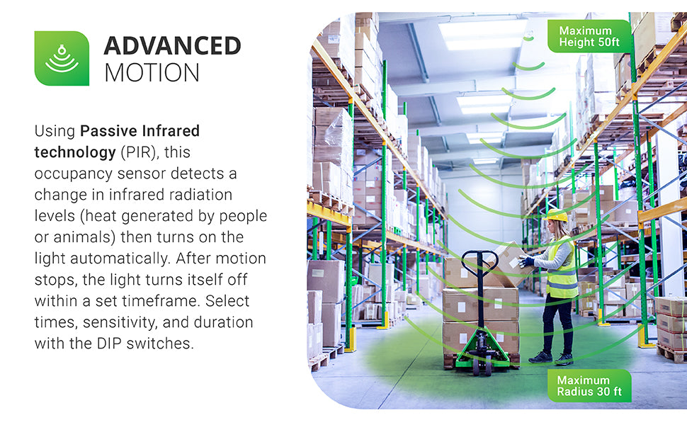 Advanced Motion Technology. Using Passive Infrared technology (PIR), this occupancy sensor detects a change in infrared radiation levels (heat generated by people or animals) then turns on the light automatically. After motion stops, the light turns itself off within a set timeframe. Select times, sensitivity, and duration with the DIP switches. Image shows a warehouse with woman and a pallet jack. Linear high bay light fixtures hang from chains. Shows max height 50ft and max radius 30ft.