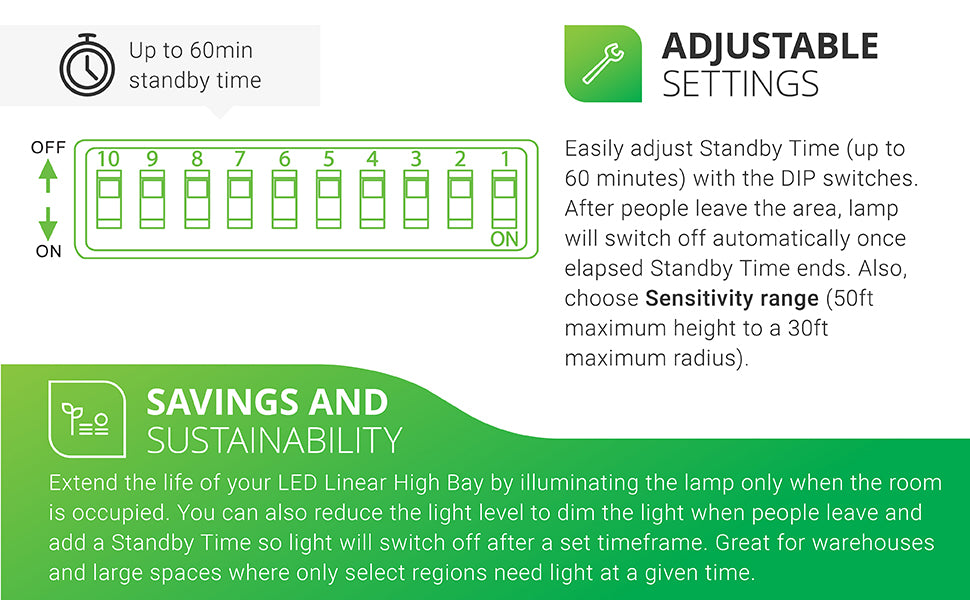 Adjustable Settings. Easily adjust Standby Time (up to 60 minutes) with the DIP switches. After people leave, lamp will switch off once elapsed Standby Time ends. Also choose sensitivity range (50ft maximum height to a 30ft maximum radius). All DIP switch combinations are in our simple install manual. Savings. Extend the life of your High Bay. Turn lamp on only when the room is occupied. Reduce light when people leave. Great for warehouses where only select regions need light at a given time.