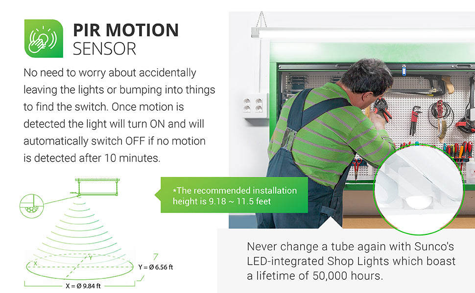 PIR Motion Sensor. Do you accidentally leave the lights on or bump into things to find the switch? No longer. Once motion is detected by the built in sensor, this light turns on and will automatically switch off if no motion detected is after 10 minutes. Savings. At 11 cents per kWh, this 40W motion shop light uses only 4.82 dollars of electricity over a 50,000 hour lifespan. This provides 1,208 dollars in savings when compared to the 1,428 dollars required to run a 260 Watt halogen lamp.