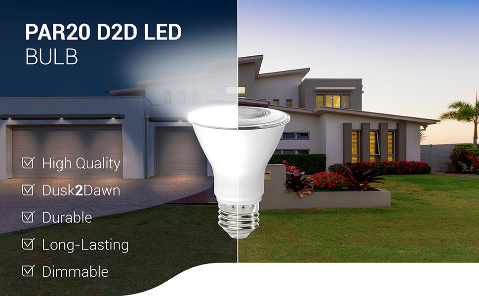 The PAR20 LED Bulb Dusk to Dawn D2D is a high quality bulb with dusk2dawn capabilities. It is durable, long-lasting, and dimmable. Includes an E26 base.
