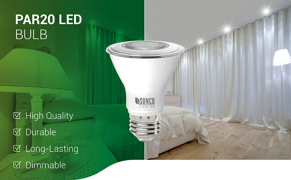The PAR20 LED Bulb with an E26 base is a high-quality, durable and long-lasting downlight replacement bulb for any home or office space. This dimmable bulb provides excellent spotlights from inside ceiling recessed cans, due to its narrow beam angle of 40-degrees. Great for highlighting paintings, artwork or spotlighting architectural details outside. Since it is wet rated you can use it inside or for exterior lighting. Consumes 7W and is a 50W equivalent.