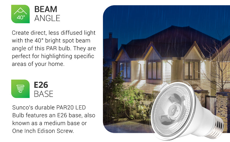 40-degree beam angle. A bright spot beam angle of 40-degrees allows you to light a specific area. Generating direct, less diffused light and pointing or spotlighting specific areas in your home. With 470 lumens of bright, focused light the wet rated PAR20 LED Bulb provides great highlights to architectural details in your landscaping or exterior lighting. Image here shows a house in the rain with PAR20s providing tree uplights and wall washes.