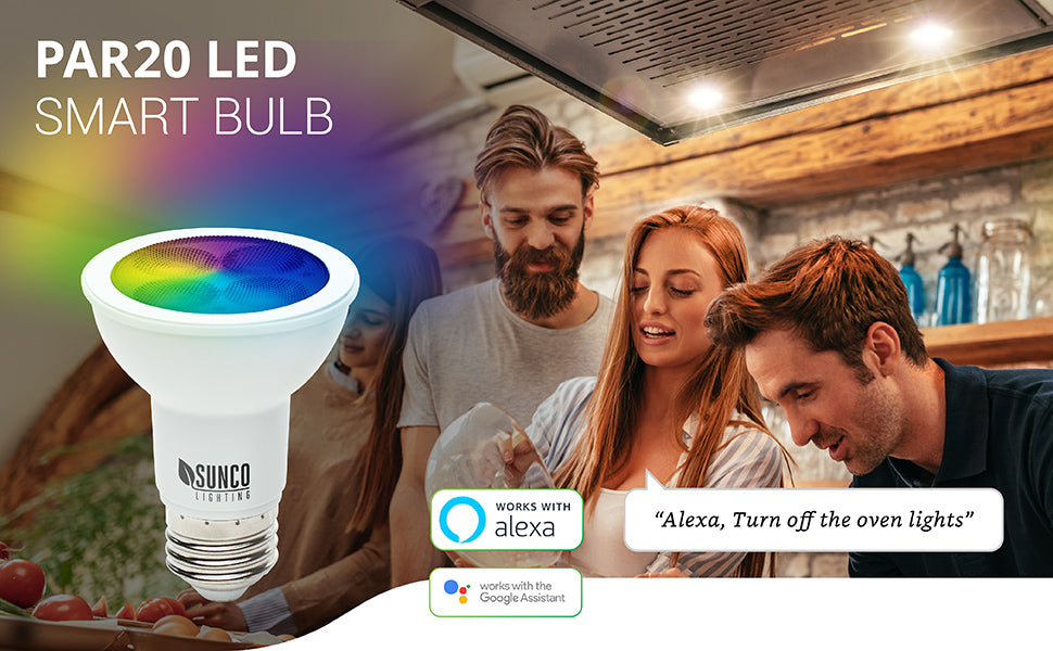 Sunco PAR20 LED Smart Bulb works with Alexa and Google Assistant. Shows people in kitchen baking and woman with voice bubble saying Alexa, turn off the oven lights.