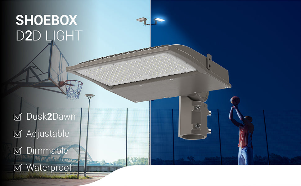 Sunco Shoebox Dusk to Dawn light is adjustable, dimmable, and waterproof. It comes with an adjustable slip fitter mount for round poles so you can modify the light fixture beam up to 90-degrees to change position and light your basketball court, sports arena, parking lot, street, and much more. Image shows a man playing basketball at night with the Shoebox LED Light Fixture on at night. The other side of the image shows a basketball court during the day with a pole mounted Shoebox LED Light Fixture.