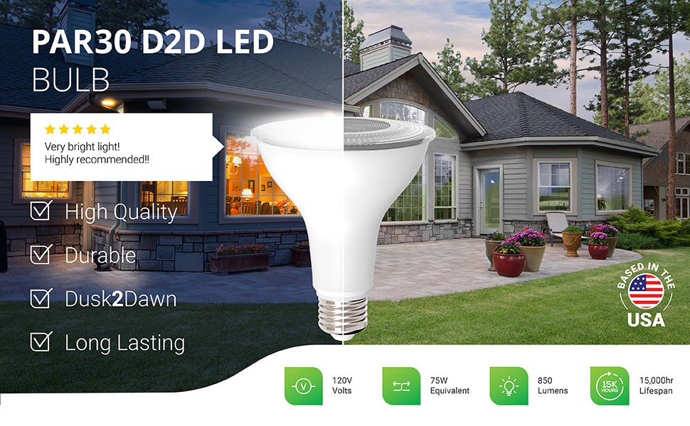 The long-lasting and durable PAR30 Dusk to Dawn LED Bulb is a high-quality light bulb with a built in Dusk to Dawn sensor to detect light levels and provide automated lighting. Wet rated for exterior use, this D2D LED turns on when no light is detected at night and turns off when light returns at dawn. Image shows a home with PAR30 Dusk to Dawn LEDs in 5- or 6- inch recessed cans for bright downlight. 75W equivalent to reduce power bill. 850 lumens of bright light. 15,000 hour lifespan.