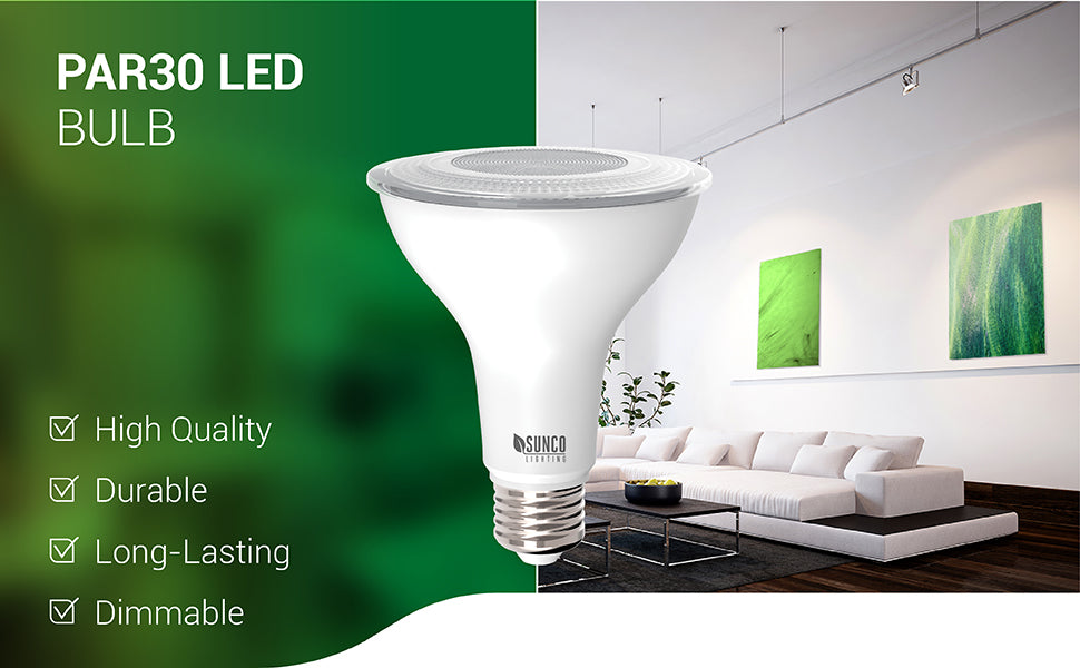 The Sunco PAR30 LED Bulb is a high quality, durable LED bulb that is dimmable and long lasting with a 25,000 hour lifetime. This waterproof and wet rated bulb is ideal for both indoor and outdoor lighting applications. Great for garden, patio, deck and yard in your exterior lighting or inside for bedroom, kitchen, living room, and in offices. Works well in recessed cans for downlighting or in track lighting that accepts an E26 base.