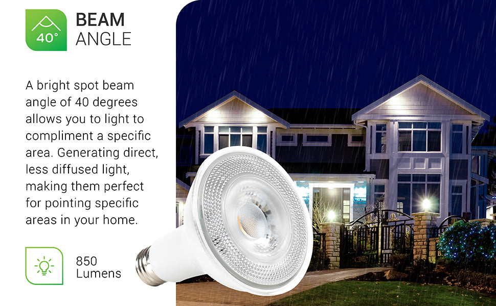 Sunco PAR30 LED Bulb offers 850 lumens of bright light. A bright spot beam angle of 40 degrees allows you to light or compliment a specific area. Generating direct, less diffused light and making them ideal for pointing out specific areas in your home.