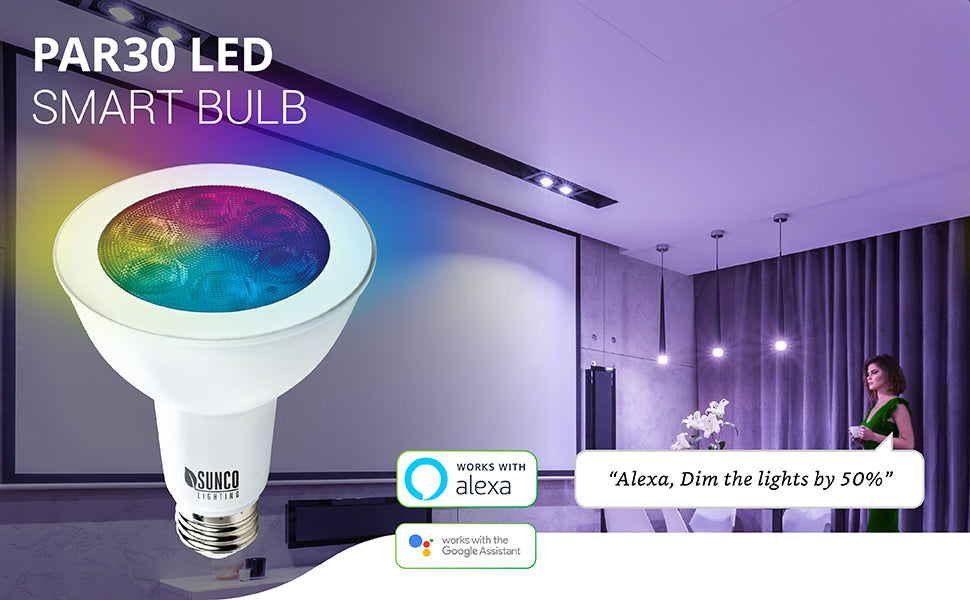Sunco PAR30 LED Smart Bulb offers voice control over WiFi with Google Assistant or Alexa and the Smart Life App. Change color, choose cold or warm color temperature, set the scene, turn on and turn off lights automatically, and much more.