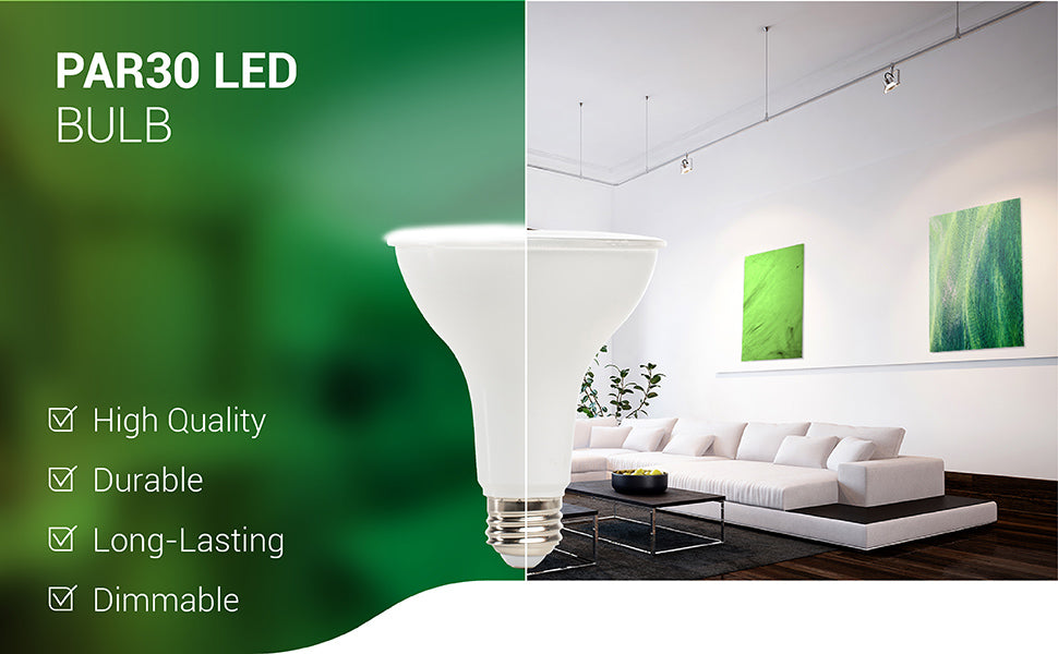 PAR30 LED Bulb is a high quality bulb. It is durable, long-lasting, and dimmable. Includes an E26 base. This LED is a spotlight for indoor or outdoor use. It is UL, Energy Star certified and also wet rated for exterior use. Image shows a living room with the PAR30 LED Bulbs in track lighting fixtures to highlight artwork with its 40-degree beam angle.