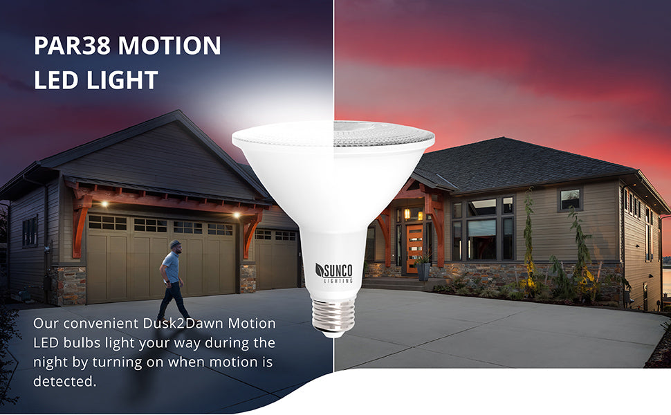 Our convenient Dusk to Dawn Motion Activated PAR38 LED Bulbs light your way by turning on when motion is detected. Shows a man leaving his house and walking across the lit driveway at night. Sunco PAR38 LEDs are in fixtures above the garage door. The built in sensor detects motion that is 15 ft away and turns on the light.