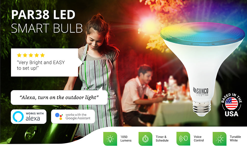 Sunco PAR38 LED Smart Bulb offers voice control over WiFi with Google Assistant or Alexa and the Smart Life App. Change color, choose cold or warm color temperature, set the scene, turn on and turn off lights automatically, and much more.