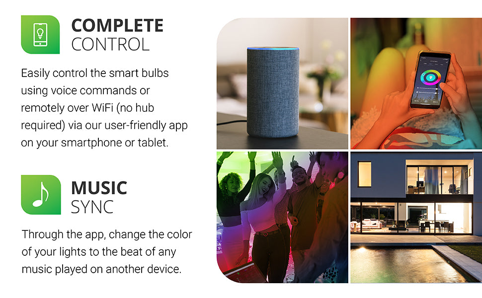 PAR38 LED Smart Bulb works with an easy to use app called the Smart Life App on iOS and Android devices. Select music sync, 16 million color choices, dimmable bulb options, and you can customize a scene selection and save it for later use or use pre-existing scenes.