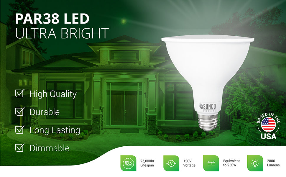 The PAR38 LED Ultra Bright light bulb from Sunco Lighting is a durable and long lasting bulb that is wet rated for indoor or outdoor use. With a 25,000 hour lifespan this LED bulb can easily light your landscape and home like shown in the image. This 20W LED is a 250W equivalent. With its 2800 lumens of bright light, it is twice as bright as the average PAR38 bulb. Great for security lighting, walkways, lighting architectural features or signs, and suitable for use in 6-inch recessed cans.