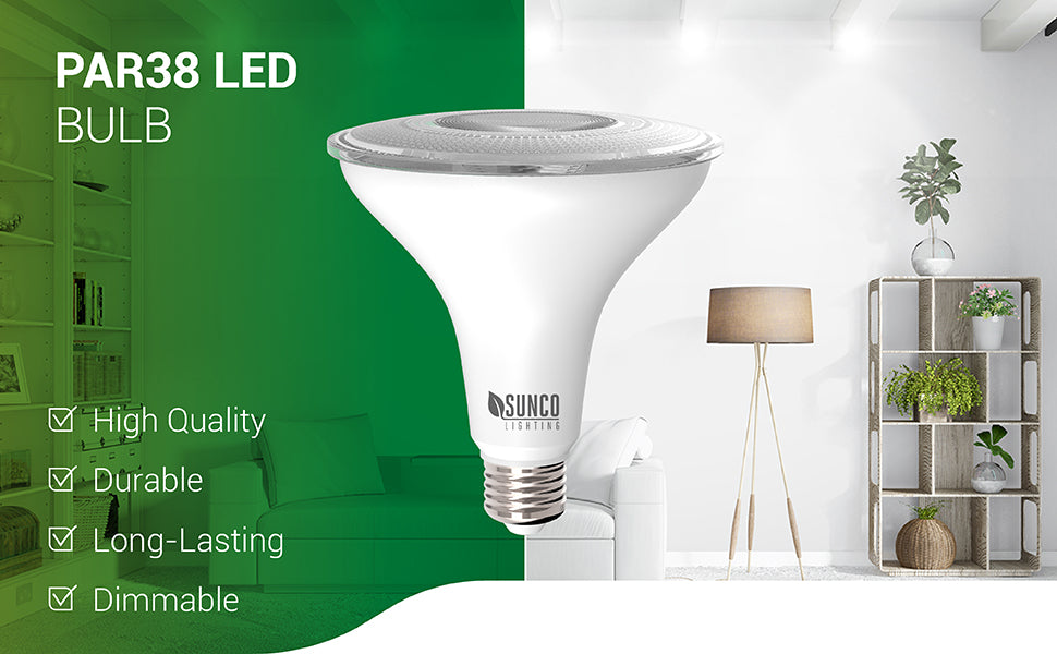The dimmable Sunco Lighting PAR38 LED Bulb is a waterproof bulb with a durable housing. It is a long lasting bulb with a 25,000 hour lifespan. Use it for spotlighting or as a downlight in recessed cans. Fits in a 6-inch can. Shown here lighting a living room. Since it is dimmable you can smoothly dim the light from 100 percent to 10 percent to suit your mood.