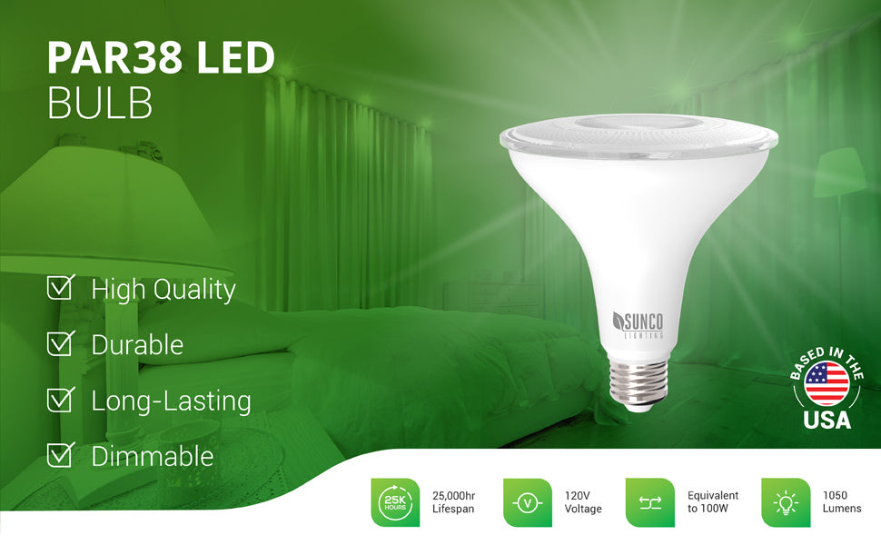 The dimmable Sunco Lighting PAR38 LED Bulb is a waterproof bulb with a durable housing. It is a long lasting bulb with a 25,000 hour lifespan. Use it for spotlighting or as a downlight in recessed cans. Fits in a 6-inch can. Shown here lighting a living room. Since it is dimmable you can smoothly dim the light from 100 percent to 10 percent to suit your mood