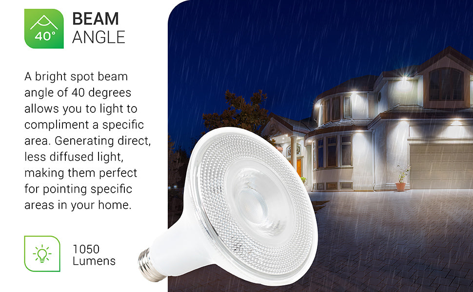 Sunco PAR38 LED Bulb offers 1050 lumens of bright light. A bright spot beam angle of 40 degrees allows you to light or compliment a specific area. Generating direct, less diffused light and making them ideal for pointing out specific areas in your home.