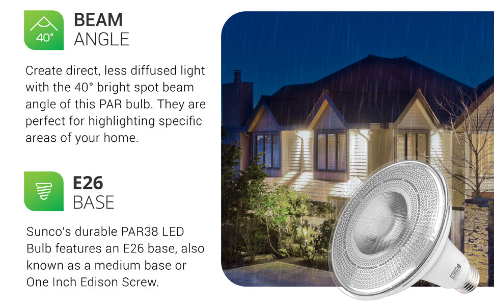 With a 40-degree beam angle, the waterproof Sunco PAR38 LED Bulb creates a bright, spot beam of light to compliment a specific area. Generating a direct, less diffused light, with this narrow spotlight beam, the PAR30 is ideal for pointing out specific areas in your home or outside in your landscaping. The bulb features 1050 lumens of bright, focused light. It is shown here lighting the front porch in recessed cans and under eaves to highlight architectural details.