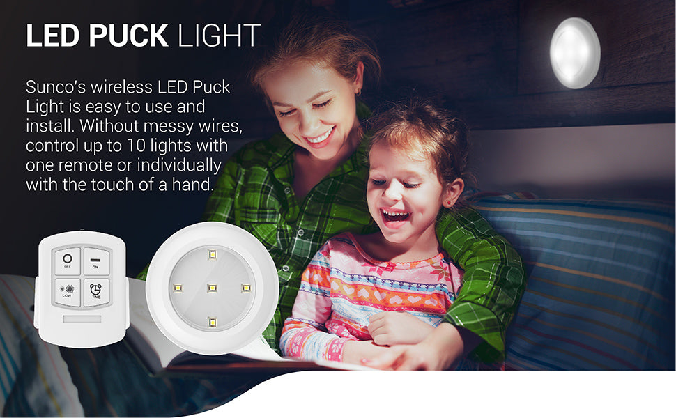 LED Puck Light with Remote Control.5 W, 30 Lumens, 4000K Warm White, Wireless, Mounting Equipment Includaed (3M adhesive)