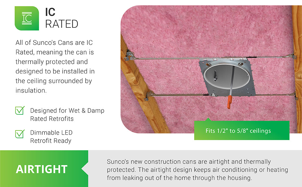 All Sunco recessed cans are IC Rated, meaning the can is thermally protected and designed to be installed in the ceiling surrounded by insulation. Image shows pink insulation around the can in a ceiling, between joists. This new construction recessed can is designed to accept wet rated or damp rated retrofit downlights. It is dimmable LED retrofit ready. The airtight design prevents leaks from air conditioning and heating through the can. Can includes j-box. Does not include LED.