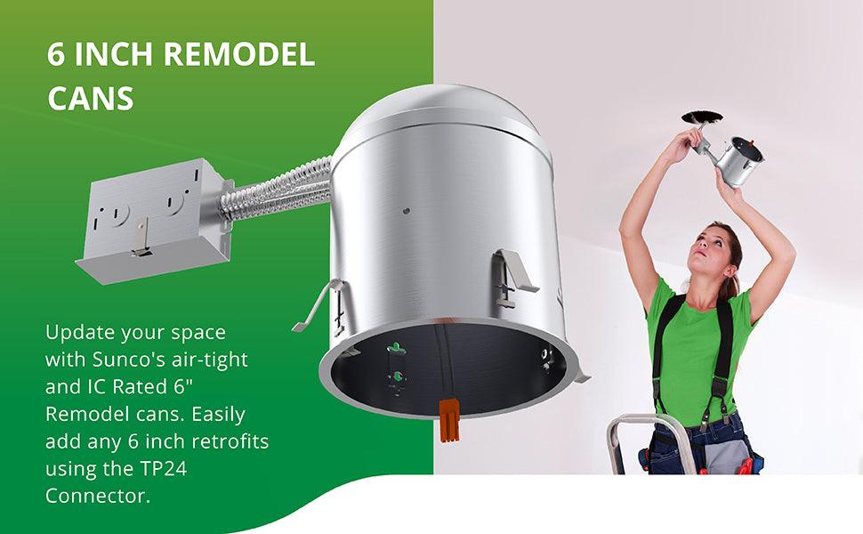 6 Inch Remodel Housing, Air Tight IC Rated Aluminum Can, 120-277V, TP24 Connector Included for Easy Install