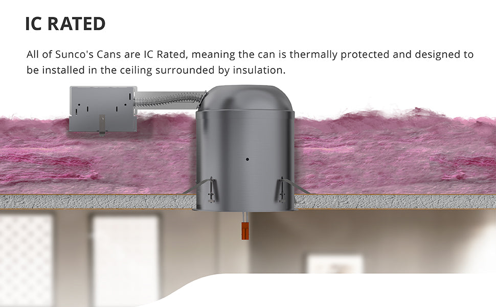 This 6-inch remodel housing is made of aluminum. The recessed can is IC rated for safety. The can is thermally protected and designed to be installed in the ceiling surrounded by insulation, like shown in this cutaway with the can installed near pink insulation. Can runs on 120/277V. A TP24 connector included for easy installation.