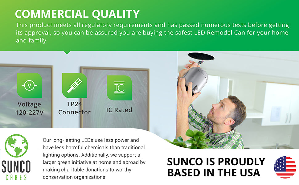 UL listed recessed can is also IC rated to safely place it near insulation in your ceiling. The commercial quality and 120/277V recessed can includes a TP24 connector and a junction box.  Sunco supports a larger green initiative at home and abroad by making regular charitable donations to worthy conservation organizations. Sunco is American owned and operated and based in the USA.