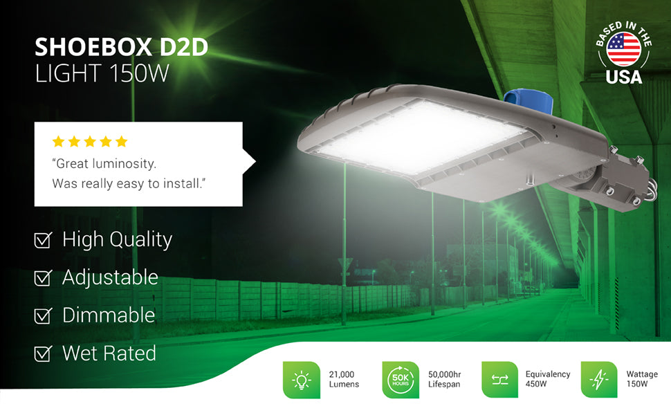 Sunco Shoebox Dusk to Dawn light is adjustable, dimmable, and waterproof. It comes with an adjustable slip fitter mount for round poles so you can modify the light fixture beam up to 90-degrees to change position and light your basketball court, sports arena, parking lot, street, and much more. Shown here as a street light. Specs 21,000 lumens, 50,000 hour lifespan, 150W LED Shoebox light is a 450W equivalent. Customer review says Great luminosity. Was really easy to install.