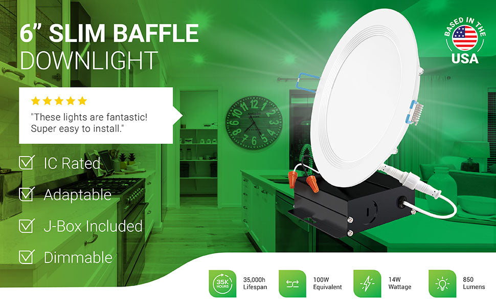 Sunco 6-Inch Slim Baffle Downlight includes a junction box for a fast install. This wafer thin LED is dimmable and IC rated. It features a 14W LED that is a 100W equivalent with its 850 lumens of bright light and has a long 35,000 hour lifespan. Image includes LED downlights in a kitchen with a product overlay to view closeup of details. Note baffle trim, included j-box, and twist connector wires between LED and j-box. Customer review says: These lights are fantastic! Super easy to install.