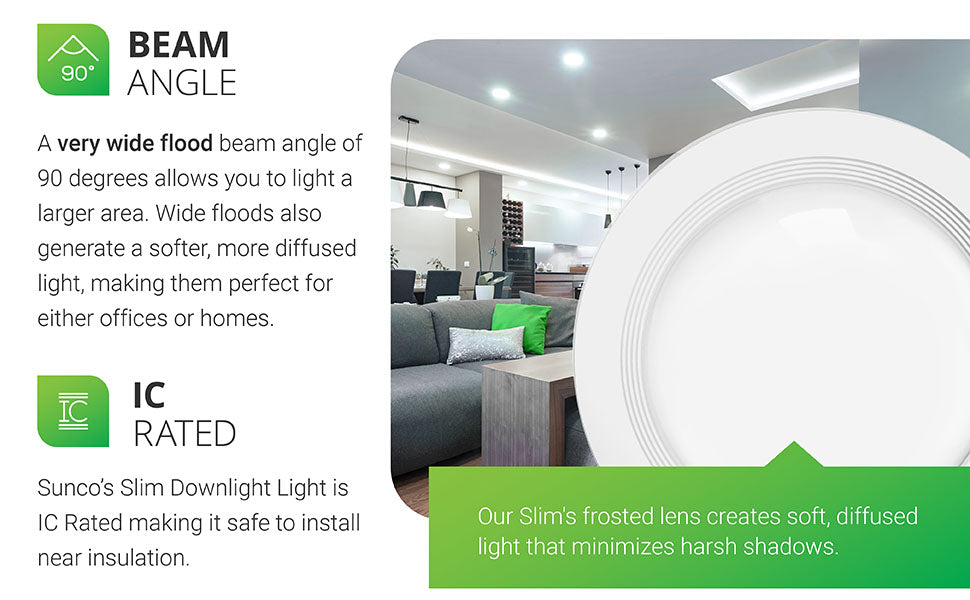 Beam Angle. A very wide flood beam angle of 90 degrees allows you to light a larger area. Wide floods also generate a softer, more diffused light, making them perfect for either offices or homes. High CRI ensures accurate representation of the color and texture in a room. Integrated LED. Our Slim's frosted lens creates soft, diffused light that minimizes harsh shadows. Image shows Slim LED downlights in a kitchen and family room space. Baffle trim clearly seen.