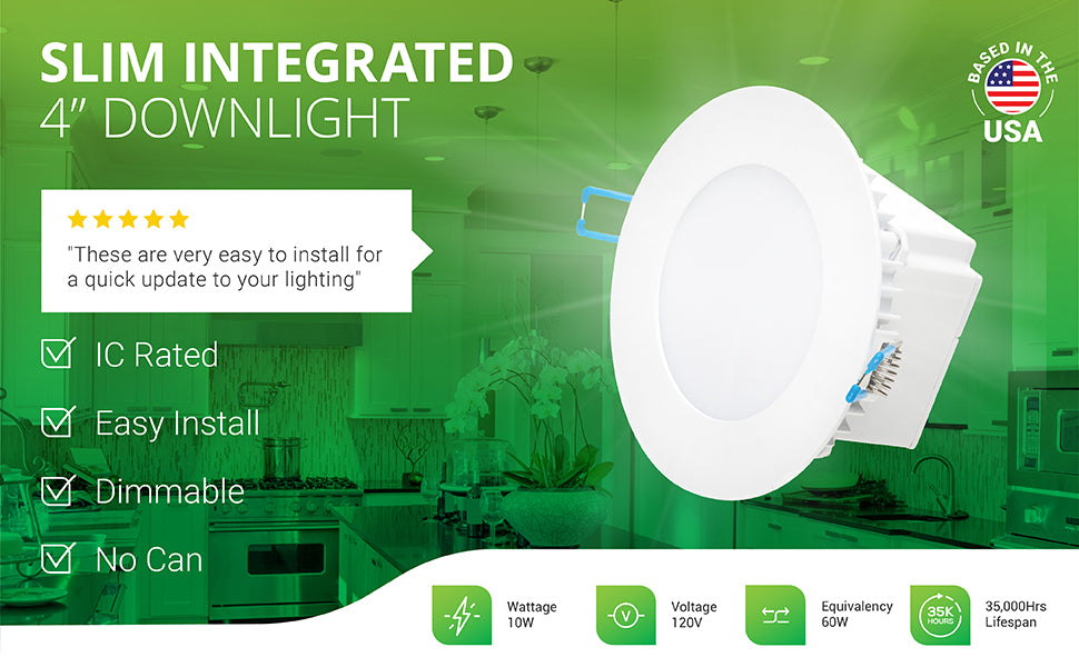 """The IC Rated 4-inch Slim Integrated Downlight is easy to install, dimmable and does not need a can. The integrated junction box and durable, spring clips allow you to install it inside a narrow ceiling space. This all-in-one downlight can be quickly installed since everything you need is included. Even the wire nuts and wires are included. Image shows a bright kitchen filled with light from 4"""" Slims with integrated j-boxes. No can required to install downlight in ceiling."""