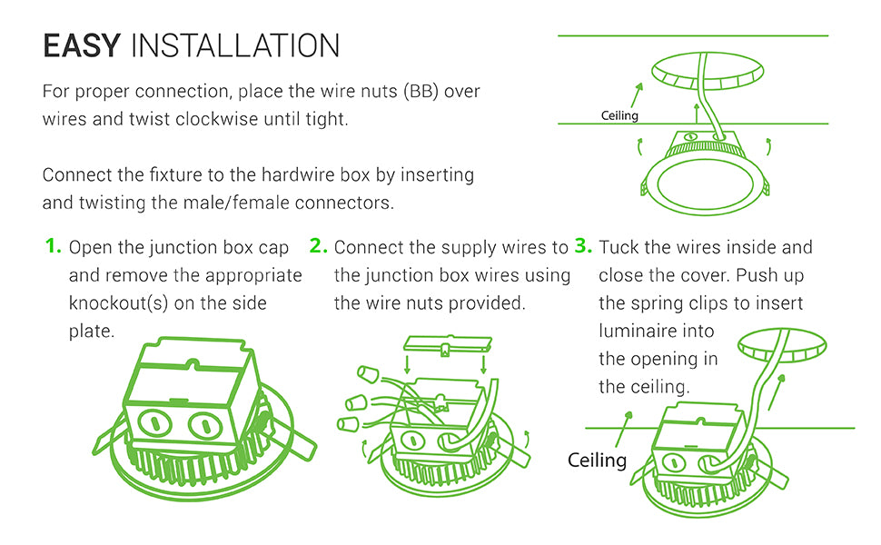 Easy Installation. 1. Open the junction box cap and remove the appropriate knockout(s) on the side plate. 2. Connect the supply wires to the j-box wire, using the wire nuts provided. For proper connection, place the wire nuts over wires and twist clockwise until tight. Tuck the wires inside and close the cover. Push up the spring clips to insert LED downlight into the open you have cut into the ceiling.