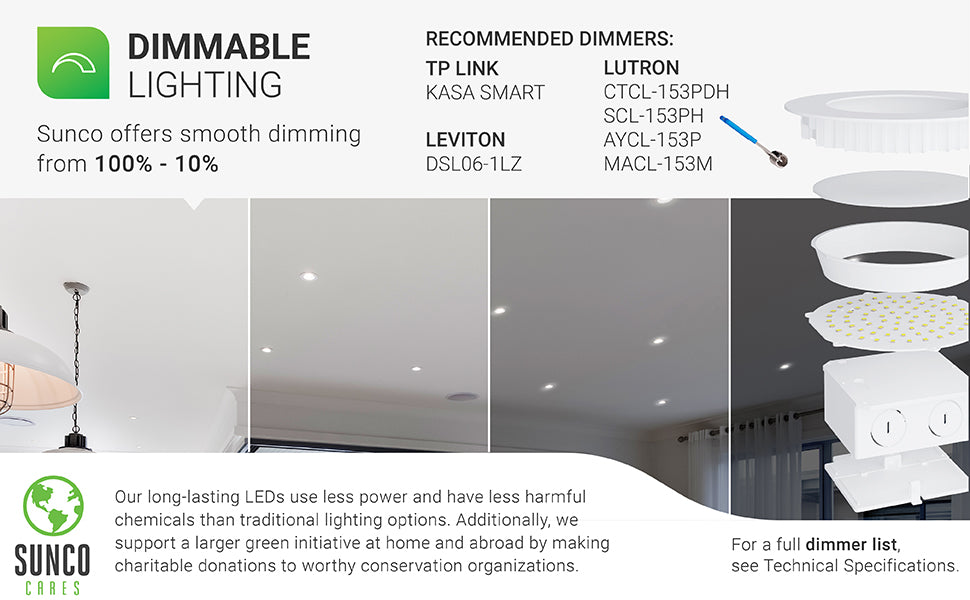 Dimmability. The Sunco Baffle Downlight was built with a smooth dimming capability. This can enhance your control over the design of your space. Image shows a living room with 4-inch Slim downlights. The image is separated in four different strips to show the 100% to 10% dimming ability. Sunco supports a larger green initiative at home and abroad by making charitable donations to worthy conservation organizations. Sunco is proudly based in the USA. We are American owned and operated. ETL and Energy Star certified.