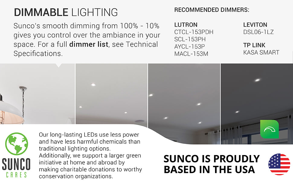 Dimmability. The Sunco Baffle Downlight was built with a smooth dimming capability. This can enhance your control over the design of your space. Image shows a living room with 4-inch Slim downlights. The image is separated in four different strips to show the 100% to 10% dimming ability. Sunco supports a larger green initiative at home and abroad by making charitable donations to worthy conservation organizations. Sunco is proudly based in the USA. We are American owned and operated. ETL and Energy Star certified