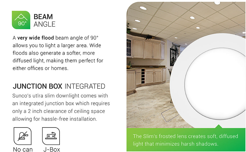 sunco lighting led light bulb 6-inch slim integrated downlight ultra slim design ic rated junction box j-box no can needed wide flood 90° beam angle creates soft difused light no harsh shadows