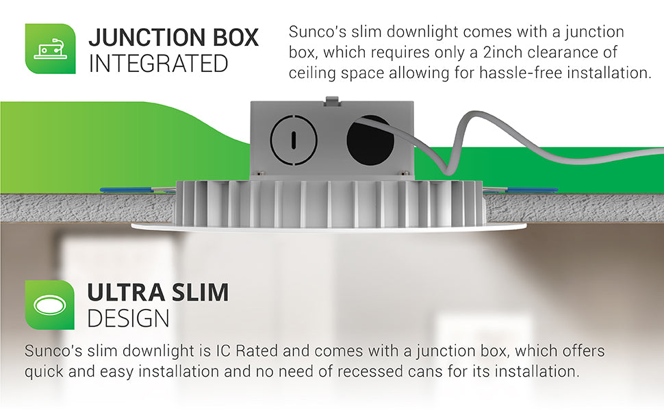 Integrated Junction Box. Sunco's slim downlight comes with a junction box, which requires only a 2-inch clearance of ceiling space to allow for hassle-free installation. Ultra Slim Design. Sunco's Slim Downlight is IC Rated and comes with a j-box so you can quickly and easily install it. There is no need for a recessed can as everything is integrated. Image shows cutaway of the ceiling with an Integrated Slim installed. Spring clips and the trim hold the light in place.