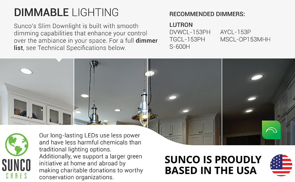 sunco lighting led light bulb 6-inch slim integrated downlight dimmable with smooth dimming capabilities and recommended dimmer list