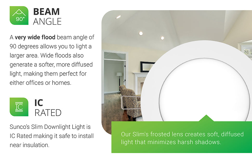 Beam Angle. A very wide flood beam angle of 90 degrees allows you to light a larger area. Wide floods also generate a softer, more diffused light, making them perfect for either offices or homes. High CRI ensures accurate representation of the color and texture in a room. Integrated LED. Our Slim's frosted lens creates soft, diffused light that minimizes harsh shadows. Image shows Slim LED downlights in a kitchen and family room space.