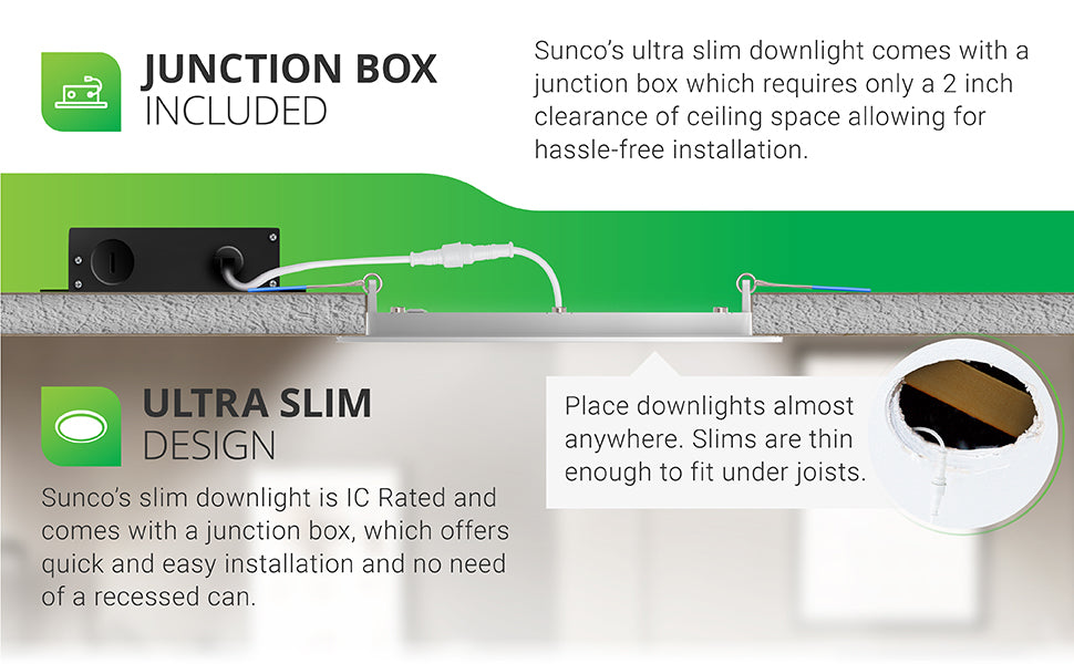 Junction Box Included. Sunco's ultra slim downlight comes with a j-box which requires only a 2 inch clearance of ceiling space allowing for hassle-free installation. Please downlights almost anywhere. Slims are thin enough to fit under joists. Ultra Slim Design. Sunco's slim downlight is IC rated and comes with a junction box, which offers quick and easy installation and no need of a recessed can. Image shows a cutaway ceiling to show Slim clipped to ceiling and streamlined look.