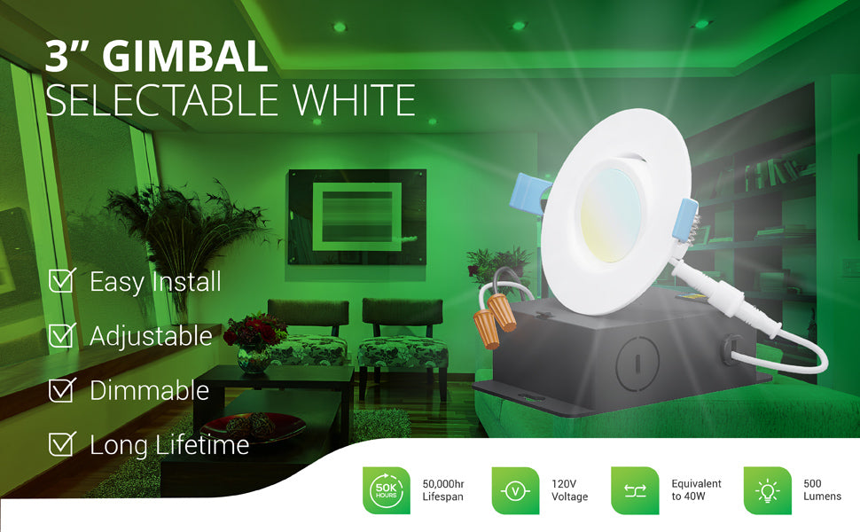 This dimmable 3-inch Slim Gimbal with Selectable White offers easy install, an adjustable gimbal lens, and a long lifetime of 50,000 hours. The 7W slim downlight runs on 120V and is a 40W equivalent with its 500 lumens of bright light. Image shows the 3-inch gimbal lighting up a modern family room and a closeup overlay of the LED downlight with its gimbal lens tilted and the included junction box, wire nuts, and twist connector. This eyeball light adjusts to point light where you need it.