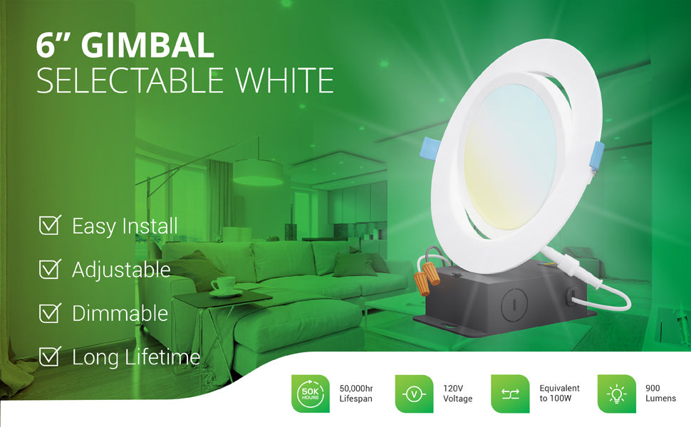 This dimmable 6-inch Slim Gimbal with Selectable White offers easy install, an adjustable gimbal lens, and a long lifetime of 50,000 hours. The 14W slim downlight runs on 120V and is a 100W equivalent with its 900 lumens of bright light. Image shows the 6-inch gimbal lighting up a living room and a closeup overlay of the LED downlight with its gimbal lens tilted and the included junction box, wire nuts, and twist connector.