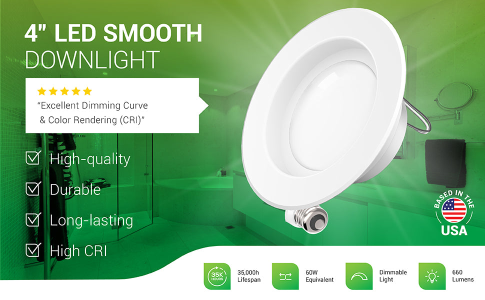The Sunco Lighting 4-inch LED Smooth Downlight is a retrofit LED light that fits 4-inch recessed cans. This durable and long-lasting LED has a high CRI and is high-quality and long-lasting with its 35,000 hour lifespan. This 11W LED is a 60W equivalent to reduce power bills by lowering wattage consumption compared to traditional light bulbs. Features 660 lumens. It is dimmable so you can adjust light quality. A customer review says: excellent dimming curve and color rendering (CRI).