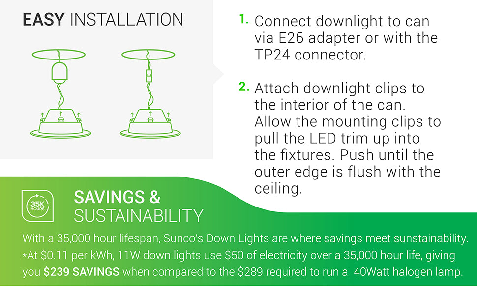 4 Inch LED Recessed Downlight, Smooth Trim, Dimmable, Damp Rated, Simple Retrofit Installation - UL + Energy Star
