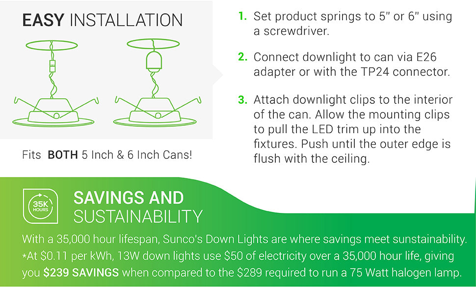 5/6 Inch LED Recessed Downlight, Smooth Trim, Dimmable, Damp Rated, Simple Retrofit Installation - UL + Energy Star