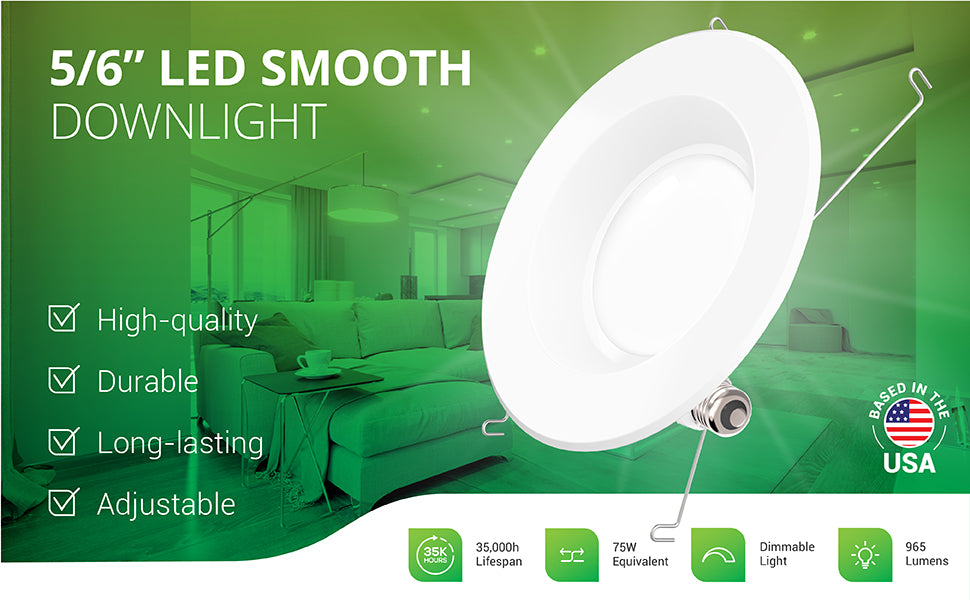 This durable 5/6-inch LED smooth downlight is a long-lasting and adjustable LED replacement for bulbs inside recessed cans. The high-quality lights have a 35,000 hour lifespan. Image shows a bright living and kitchen space with 5-inch and 6-inch LED downlights in the ceiling. This dimmable light offers 965 lumens of bright, instant on light. It is a 75W equivalent yet only consumes 13W of power.