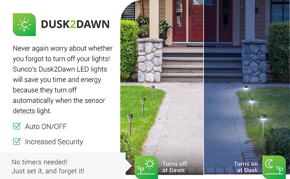 Features an above ground stake for even light along walkways like shown here. This LED Solar Garden Light from Sunco Lighting incudes Dusk to Dawn technology. Battery included. The LED performs best when placed away from trees, where the solar panel might be blocked and unable to recharge, and street lights. These lights automatically turn on/off based on available light levels. They turn on at dusk. Simply charge the solar panel to recharge the battery and light up the night.