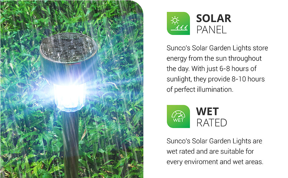 Includes a solar panel. The convenient Sunco Solar LED Garden Lights store energy from the sun throughout the day in the included battery. With just 6-8 hours of direct sunlight, they provide 8-10 hours of illumination at night. No electricity is necessary to operate these lights. That means you avoid unsightly wires in your landscaping or garden beds. Wet Rated for landscaping and outdoor use. See install manual for dusk to dawn tips.