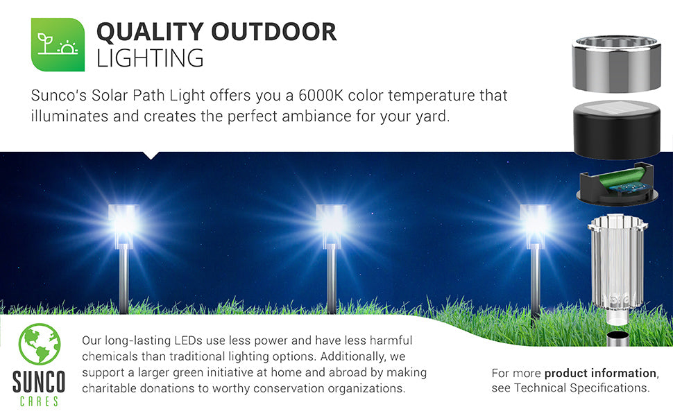 Quality Outdoor Lighting. Sunco's solar path lights offer a 6000K color temperature that illuminates and creates the ambiance in your yard. Shown here staked in the grass with three bright fixtures in a row. Sunco supports a larger green initiative at home and abroad by making charitable donations to worthy conservation organizations. Sunco is proudly based in the USA. We are American owned and operated.