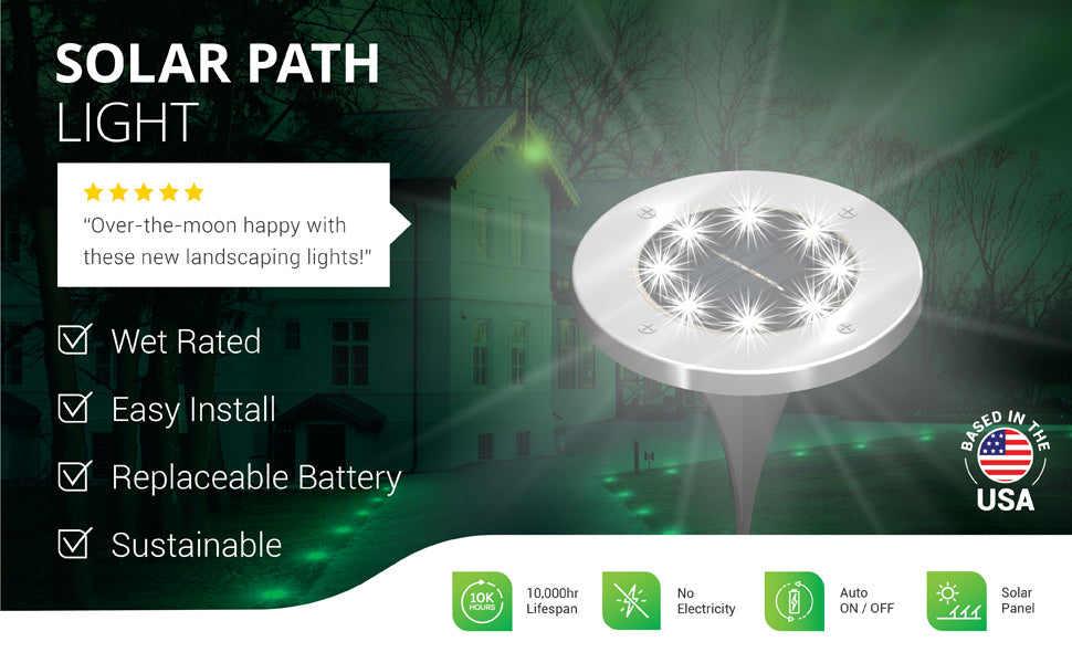 Sunco LED Solar Path Lights automatically turn on at night to illuminate the dark with bright, beautiful light. Image shows a chateau-like hotel with solar path lights illuminating the curved driveway. Closeup overlay of round solar LED garden path light. Waterproof and wet rated IP65 for backyard, walkways, landscaping, and exterior applications. Includes solar panel and rechargeable battery. 10,000 hour lifespan. Customer review says Over-the-moon happy with these new landscaping lights