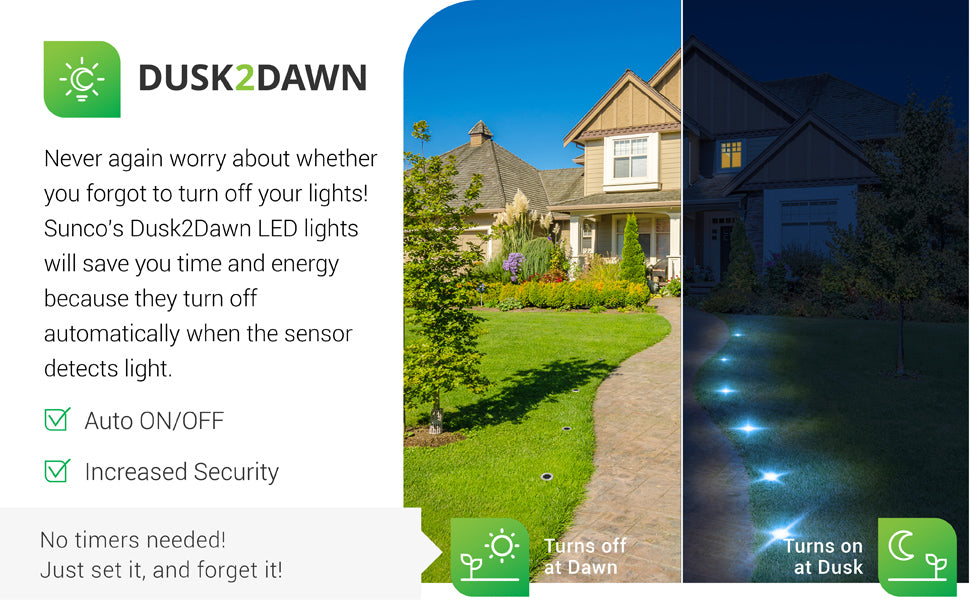 Dusk to Dawn. Never again worry about whether you forgot to turn off your lights. Sunco's D2D LED lights will save you time and energy because they turn off automatically when the sensor detects light and turn on at dusk, whether you are home or not. Includes auto on and off along with a built in photocell sensor to detect light levels. Sunco's solar path lights perform best when placed away from trees and streetlights. They need direct sun to power the internal battery via the solar panel.