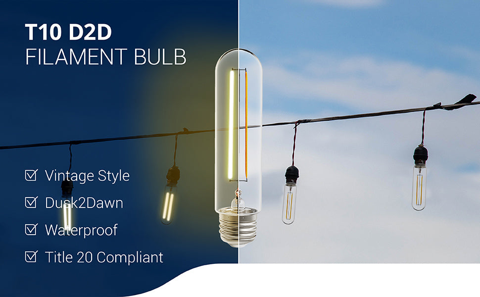 This waterproof, T10 LED Filament Bulb features Dusk to Dawn technology. The built-in sensor detects light levels to turn on/off the light automatically. The vintage style of the Filament is clearly seen in this tubular LED with its durable, glass housing and E26 base. Best-suited to string lights, pendant lamps, and other open lighting fixtures where the retro look can be shown off, this bulb can add instant style to your space.